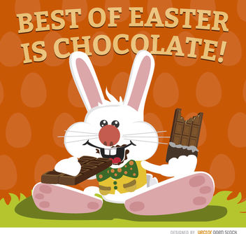 Easter bunny eating chocolate wallpaper - Free vector #163593