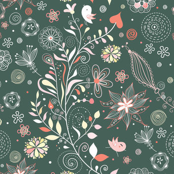 Funky Abstract Vintage Floral Pattern - Kostenloses vector #163703