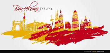 Barcelona landmarks skyline art - vector #163743 gratis