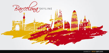 Barcelona landmarks skyline art - бесплатный vector #163743