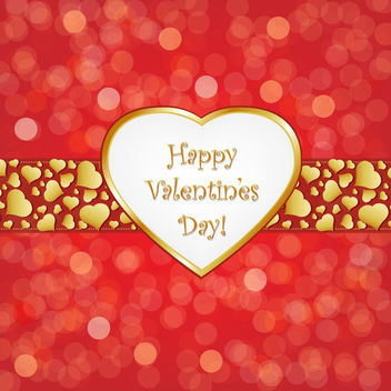 Valentine Heart Banner on Bokeh Background - Free vector #163943