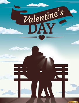 Valentine's couple bench blue sky - vector gratuit #163983