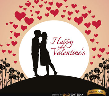 Couple kissing Valentine's card - vector gratuit #164073