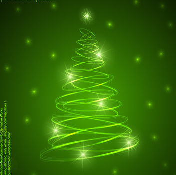 Shiny Green Xmas Tree Shaped Spiral Rings - Free vector #164203