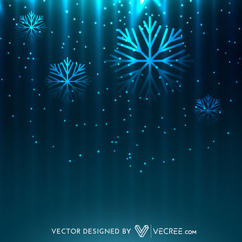 Glowing Snowflakes on Midnight Blue Sky - Free vector #164243
