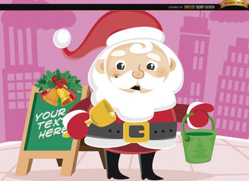 Santa Claus Christmas bucket in street - Free vector #164383