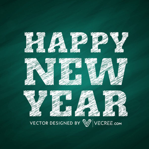 New Year Angling Grain Textured Typography - Free vector #164403