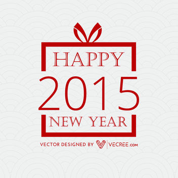 New Year Greetings inside Xmas Gift Box - vector gratuit #164413