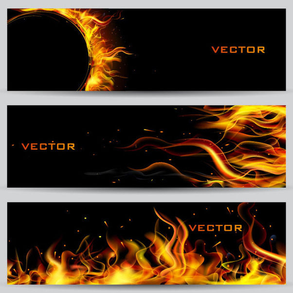 Gorgeous 3 Realistic Fire Banners - бесплатный vector #164473