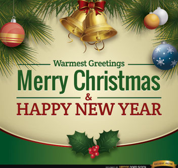 Christmas greetings ornaments card - Free vector #164513