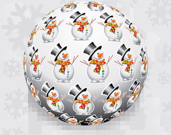 3D Christmas Ball with Snowman Pattern - vector gratuit #164523