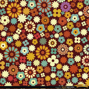 Lots of colorful flowers pattern - vector gratuit #164543