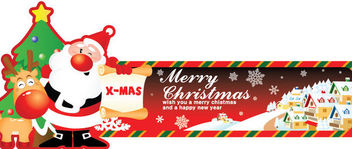 Santa Holding Card Comic Style Christmas Banner - Free vector #164583