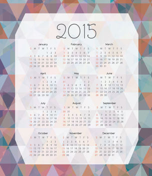 2015 Calendar on Colorful Polygonal Background - vector gratuit #164593