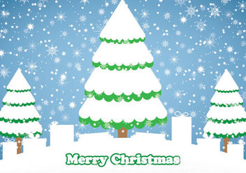 Snowy Christmas Background with Trees & Gift Box - vector #164613 gratis