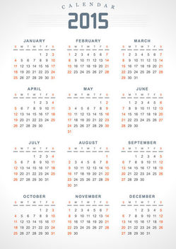 2015 Highlighted Weekend Classic Calendar - Free vector #164633