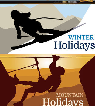 Ski and mountain Holidays background - vector gratuit(e) #164643