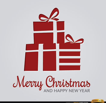 Abstract red Christmas gifts background - Free vector #164683