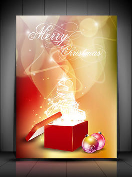 White Christmas Tree Gift Box on Smoky Background - Free vector #164693