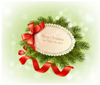 Christmas Greeting on Green Branch with Ribbons - Free vector #164763