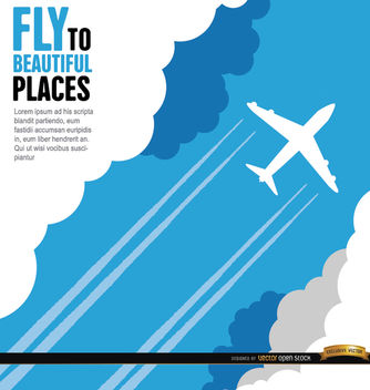 Plane wake and clouds background - vector #164783 gratis