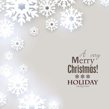 Grey Christmas Holiday Card with Snowflakes - vector #164803 gratis