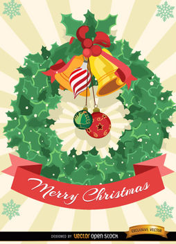 Christmas mistletoe ornament card - Free vector #164853