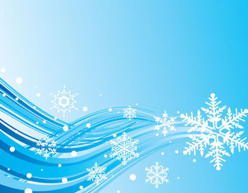Simplistic Blue Wave & Snowflake Christmas Background - Free vector #164943