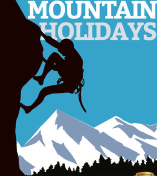 Mountain climb man poster - Free vector #164953