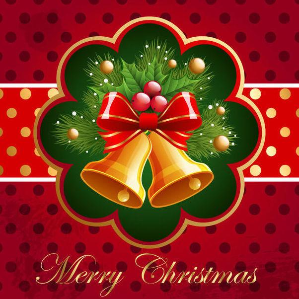 Christmas Card with Bells & Mistletoe - бесплатный vector #165033