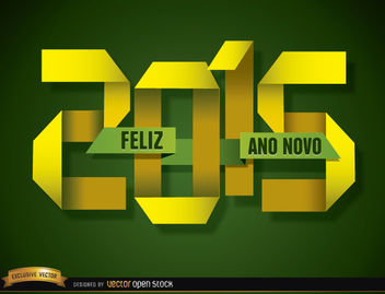 2015 Folded paper happy new year Portuguese - Free vector #165073