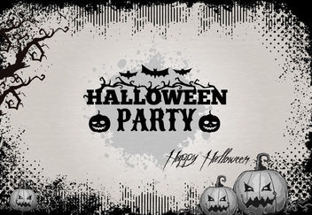 Retro Grunge Happy Halloween Card Template - Free vector #165283