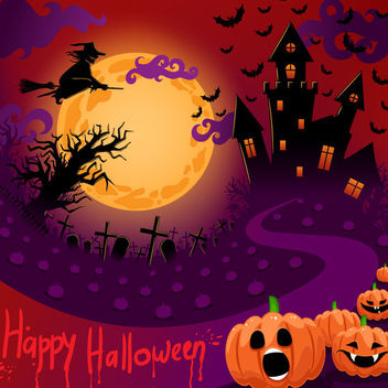 Halloween Night Creepy Purple Poster Template - Free vector #165343