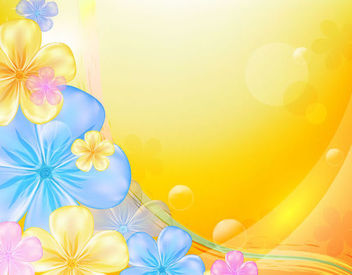 Beautiful Multicolor Flower Orange Background - vector gratuit #165393