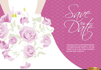 Wedding invitation bride flowers - Free vector #165483