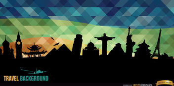 World monuments silhouettes background - vector gratuit #165503