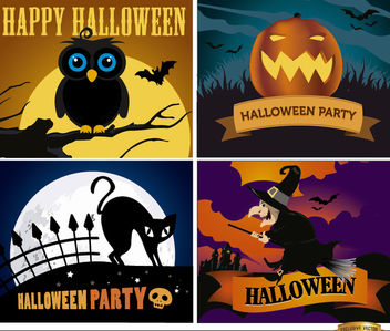 Happy Halloween backgrounds set - vector gratuit #165653