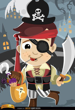 Halloween cartoon kid pirate costume - vector gratuit #165663