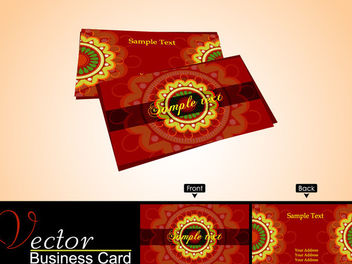 Red Business Card with Yellow Ornament - Kostenloses vector #165743