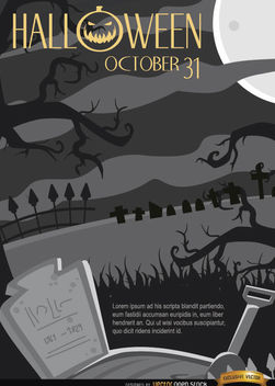 Creepy Halloween Night Graveyard & Crooked Trees Background - Free vector #165833