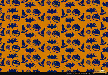 Blue Halloween texture on orange background - Free vector #165843