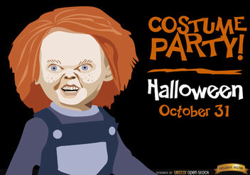 Halloween invitation promo Chucky - Free vector #165963