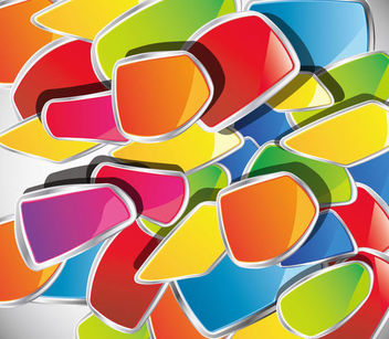 Piles of Colorful Glossy Abstract Disordered Shapes - vector #165983 gratis