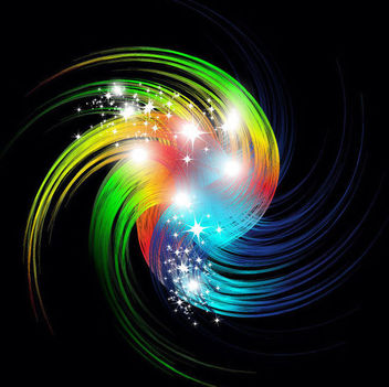 Colorful Vortex Swirls with Sparkling Stars - Free vector #166023