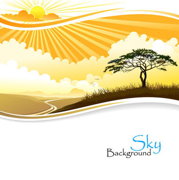 Sunset Sky Landscape with Big Tree - vector gratuit #166073