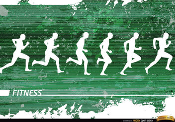 Jogging silhouettes grunge background - Free vector #166113