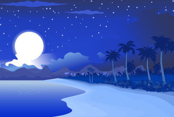 Midnight Blue Beachside Landscape - Free vector #166133