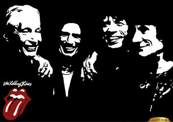 Rolling Stones band black and white wallpaper - vector gratuit #166323