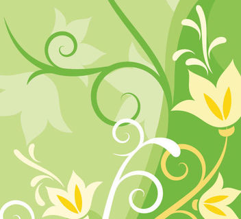 Clean & Funky Green Floral Background - Free vector #166413