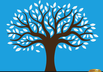 Drawn tree with white leaves - vector gratuit #166423